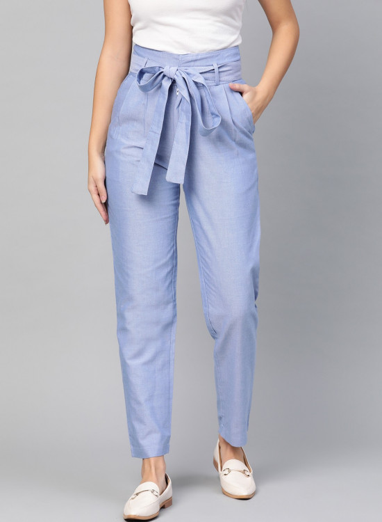 Chambray trousers with front knot