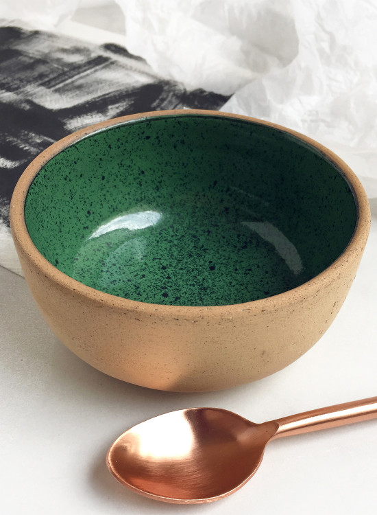 Soup Bowl- Speckled green